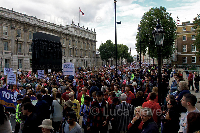 London, 18/09/2010. Thousands of people marched from Hyde Park Corner to Westminster to protest against the State Visit to the UK by the Pope.