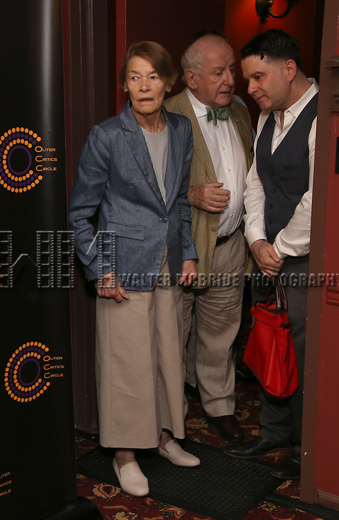 Glenda Jackson, Lionel Larner and Jim Byk attends the 2018 Outer Critics Circle Theatre Awards at Sardi's on May 24, 2018 in New York City.