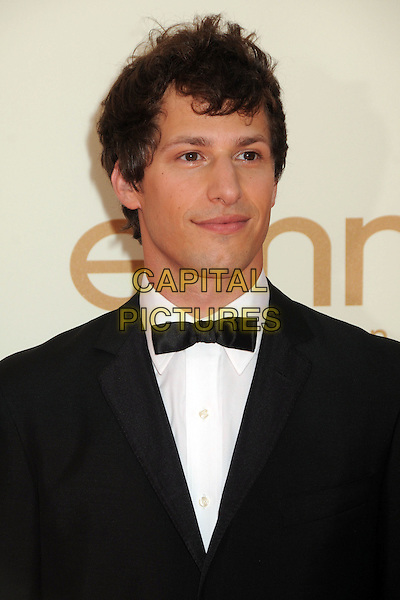 Andy Samberg.63rd Primetime Emmy Awards held at Nokia Theatre L.A. Live. Los Angeles, California, USA. .18th September 2011.emmys headshot portrait white black bow tie tuxedo.CAP/ADM/BP.©Byron Purvis/AdMedia/Capital Pictures.