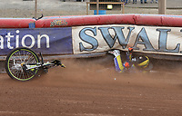 Heat 2: Tom Brennan of Eastbourne ends up under the air fence<br /> <br /> Photographer Rob Newell/CameraSport<br /> <br /> National League Speedway - Lakeside Hammers v Eastbourne Eagles - Lee Richardson Memorial Trophy, First Leg - Friday 14th April 2017 - The Arena Essex Raceway - Thurrock, Essex<br /> &copy; CameraSport - 43 Linden Ave. Countesthorpe. Leicester. England. LE8 5PG - Tel: +44 (0) 116 277 4147 - admin@camerasport.com - www.camerasport.com