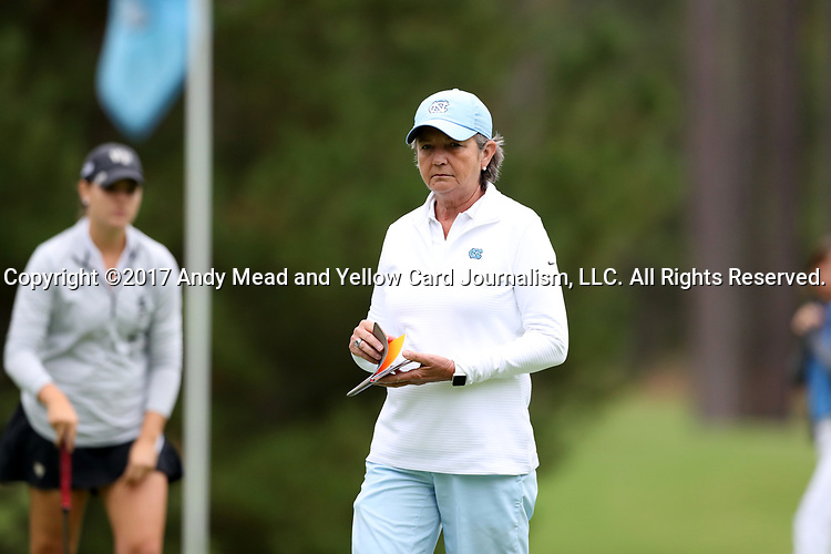CHAPEL HILL, NC - OCTOBER 14: North Carolina head coach Jan Mann. The second round of the Ruth's Chris Tar Heel Invitational Women's Golf Tournament was held on October 14, 2017, at the UNC Finley Golf Course in Chapel Hill, NC.