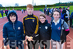 Oisin Maunsell, Mikey Clifford, Sinead Coleman and Caoimhe Shanahan, students attending Causeway Comprehensive School, pictured at the Kerry ETB Athletics event at An Riocht, Castleisland on Friday last.