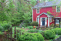 Naturalistic front yard of home with country cottage garden, Boninti Garden, Virginia