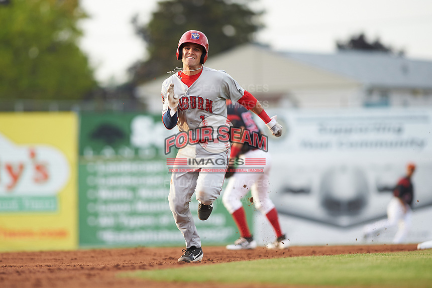 Auburn Doubledays shortstop Ryan Merrill (1) runs to third base after tagging up on a fly ball in the top of the third inning during a game against the Batavia Muckdogs on July 6, 2017 at Dwyer Stadium in Batavia, New York.  Auburn defeated Batavia 4-3.  (Mike Janes/Four Seam Images)