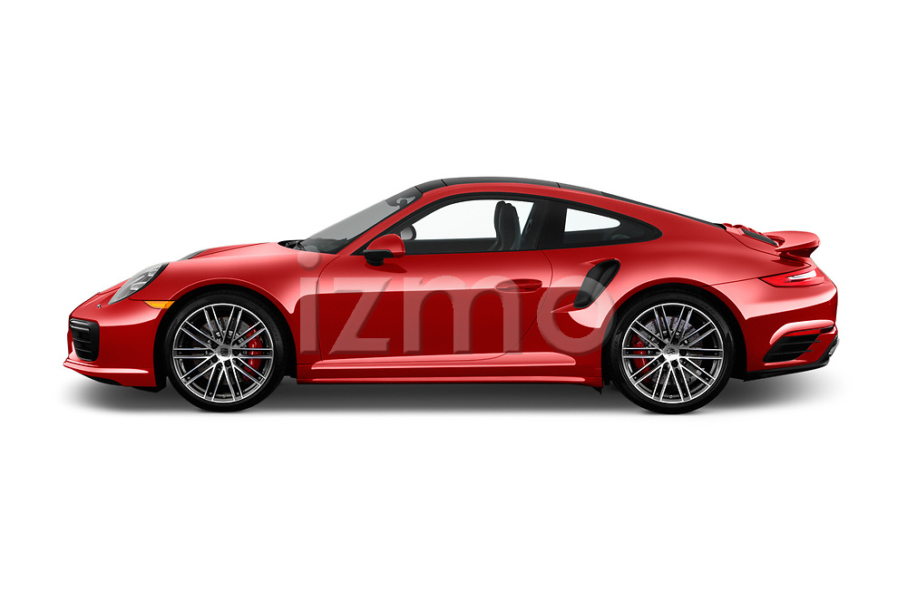 Car Driver side profile view of a 2019 Porsche 911 Turbo-Coupe 2 Door Coupe Side View