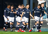 Millwall players celebrating George Saville goal during the Sky Bet Championship match between Millwall and Brentford at The Den, London, England on 10 March 2018. Photo by Andrew Aleksiejczuk / PRiME Media Images.