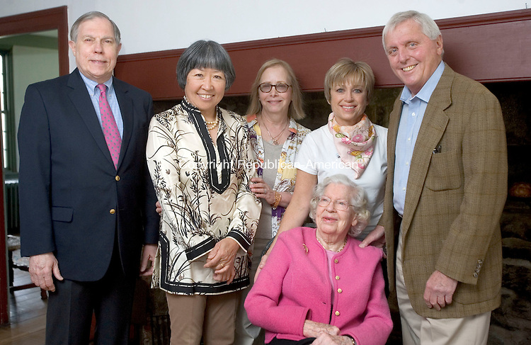 WOODBURY CT. 02 May 2015-050215SV02-From left, Carter Booth, President of Board of Directors and co-chair of the annual Glebe House fundraiser, Sun Williams, Board of Directors and co-chair of the event, Judith Kels, director, ice skater Dorothy Hamill, the honorary chairwoman of the fundraiser, Faith Warner, Board of Directors, and Chris Giftos, Board of Directors and co-chair of the event, at the Glebe House in Woodbury Saturday. <br /> Steven Valenti Republican-American