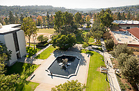Occidental College's Lucille Y. Gilman Memorial Fountain at the main entrance to campus.<br /> (Photo by Marc Campos, Occidental College Photographer)