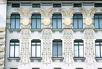 Otto Wagner: Linke Wienzeile 38, Vienna. Gilded medallions by Kolo Moser.