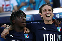 Football: Uefa under 21 Championship 2019, Italy -Poland, Renato Dall'Ara stadium Bologna Italy on June19, 2019.<br /> Italy's Moise Kean (l) and Nicolò Zaniolo (r) during the Italy's national anthem prior to the Uefa under 21 Championship 2019 football match between Italy and Poland at Renato Dall'Ara stadium in Bologna, Italy on June19, 2019.<br /> UPDATE IMAGES PRESS/Isabella Bonotto