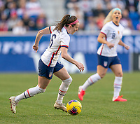 HARRISON, NJ - MARCH 08: Rose Lavelle #16 of the United States dribbles during a game between Spain and USWNT at Red Bull Arena on March 08, 2020 in Harrison, New Jersey.