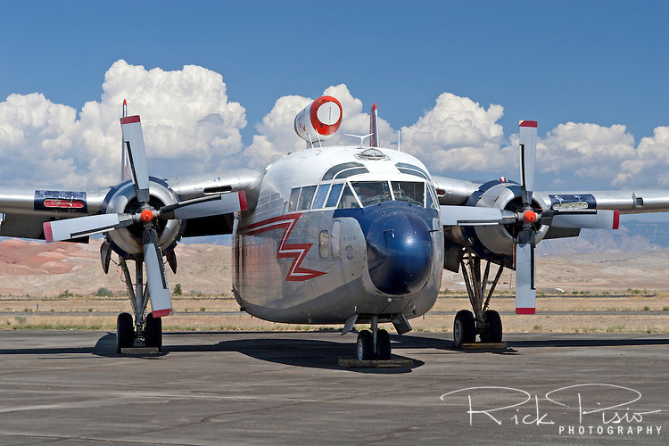 Hawkins and Powers C-119G  Flying Boxcar (N8093)on the tarmac in Greybull, Wyoming. In August of 2006 all of the remaining Hawkins and Powers assets were auctioned off.<br />