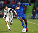 Getafe CF's Allan Nyom (r) and FC Krasnodar's Magomed Suleymanov during UEFA Europa League match. December 12,2019. (ALTERPHOTOS/Acero)