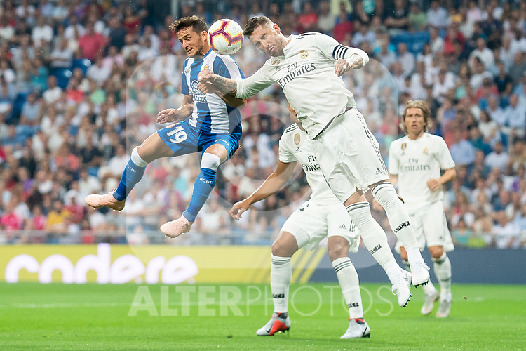 Real Madrid Sergio Ramos and RCD Espanyol Pablo Piatti during La Liga match between Real Madrid and RCD Espanyol at Santiago Bernabeu Stadium in Madrid, Spain. September 22, 2018. (ALTERPHOTOS/Borja B.Hojas)