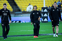 From left, NZ's Beauden Barrett, Aaron Smith and Ben Smith warm up for the Steinlager Series international rugby match between the New Zealand All Blacks and France at Westpac Stadium in Wellington, New Zealand on Saturday, 16 June 2018. Photo: Dave Lintott / lintottphoto.co.nz