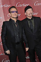 Bono (left) &amp; The Edge, from U2, at the 2014 Palm Springs International Film Festival Awards gala at the Palm Springs Convention Centre.<br /> January 4, 2014  Palm Springs, CA<br /> Picture: Paul Smith / Featureflash