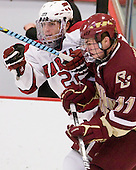 David Valek (Harvard - 22), Pat Mullane (BC - 11) - The Boston College Eagles defeated the Harvard University Crimson 3-2 on Wednesday, December 9, 2009, at Bright Hockey Center in Cambridge, Massachusetts.