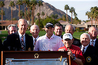 John M Foster, Bill Haas, Yogi Berra, and several Board of Directors pose after the completion of The 2010 Bob Hope Classic at PGA West in La Quinta, CA