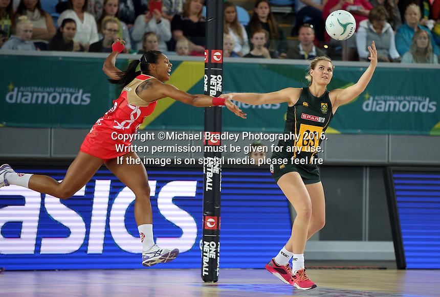 04.09.2016 England's Stacey Francis and South Africa's Lenzie Potgieter in action during the Netball Quad Series match between England and South Africa played at Margaret Court Arena in Melbourne. Mandatory Photo Credit ©Michael Bradley.