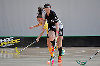 New Zealand's Anita Jones in action during the World Floorball Championships 2017 Qualification for Asia Oceania Region - New Zealand v Malaysia at ASB Sports Centre , Wellington, New Zealand on Saturday 4 February 2017.<br /> Photo by Masanori Udagawa<br /> www.photowellington.photoshelter.com.