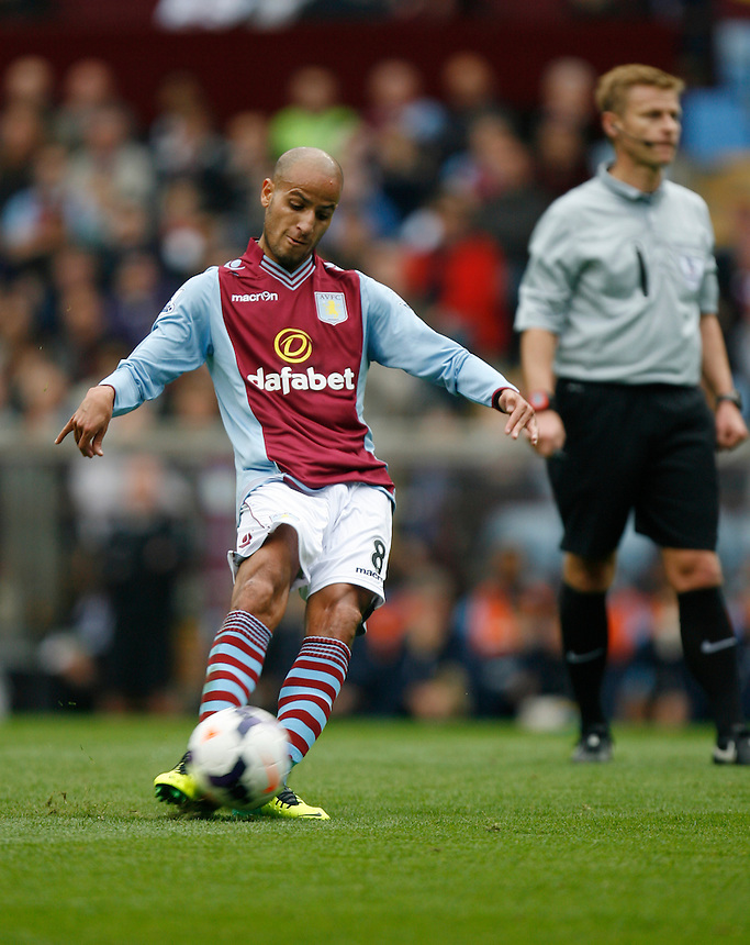Aston Villa's Karim El Ahmadi in action during todays match  <br /> <br /> Photo by Jack Phillips/CameraSport<br /> <br /> Football - Barclays Premiership - Aston Villa v Manchester City - Saturday 28th September 2013 - Villa Park - Birmingham<br /> <br /> &copy; CameraSport - 43 Linden Ave. Countesthorpe. Leicester. England. LE8 5PG - Tel: +44 (0) 116 277 4147 - admin@camerasport.com - www.camerasport.com