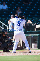 Surprise Saguaros designated hitter Meibrys Viloria (9), of the Kansas City Royals organization, at bat in front of catcher Daulton Varsho (8) during an Arizona Fall League game against the Salt River Rafters on October 9, 2018 at Surprise Stadium in Surprise, Arizona. Salt River defeated Surprise 10-8. (Zachary Lucy/Four Seam Images)