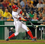 15 August 2008: Washington Nationals' first baseman Aaron Boone in action against the Colorado Rockies at Nationals Park in Washington, DC.  The Rockies edged out the Nationals 4-3, handing the last place Nationals their 8th consecutive loss. ..Mandatory Photo Credit: Ed Wolfstein Photo