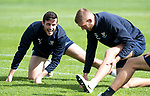 St Johnstone Training&hellip;24.08.18<br />Joe Shaughnessy pictured with Liam Gordon during training this morning at McDiarmid Park ahead of tomorrow&rsquo;s game against Dundee<br />Picture by Graeme Hart.<br />Copyright Perthshire Picture Agency<br />Tel: 01738 623350  Mobile: 07990 594431