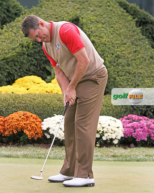 26 SEP 12  Lee Westwood works on his putting game at The 39th Ryder Cup at The Medinah Country Club in Medinah, Illinois.