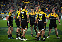The Hurricanes pack prepares for a lineout during the Super Rugby match between the Hurricanes and Crusaders at Westpac Stadium in Wellington, New Zealand on Saturday, 15 July 2017. Photo: Dave Lintott / lintottphoto.co.nz