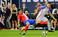 Harrison, N.J. - Friday September 01, 2017:  Johnny Acosta, Bobby Wood during a 2017 FIFA World Cup Qualifying (WCQ) round match between the men's national teams of the United States (USA) and Costa Rica (CRC) at Red Bull Arena.