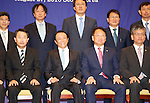 Taro Aso and Yoo Il-ho, Aug 27, 2016 : Japanese Finance Minister Taro Aso (2nd L, front) and his South Korean counterpart Yoo Il-ho (2nd R, front) attend a photo session after their talks at an office of the South Korean Government Complex Seoul in Seoul, South Korea. The bilateral meeting was the seventh talks between Japan and South Korea since 2006. The finance ministers from Japan and South Korea agreed on Saturday to resume a currency swap deal to strengthen bilateral economic cooperation, local media reported. (Photo by Lee Jae-Won/AFLO) (SOUTH KOREA)
