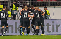 celebrate the goal, Torjubel zum 1:0 um David Abraham (Eintracht Frankfurt) mit einem Tanz, daneben, Goncalo Paciencia (Eintracht Frankfurt), Martin Hinteregger (Eintracht Frankfurt), Sebastian Rode (Eintracht Frankfurt), Djibril Sow (Eintracht Frankfurt) - 24.10.2019:  Eintracht Frankfurt vs. Standard Lüttich, UEFA Europa League, Gruppenphase, Commerzbank Arena<br /> DISCLAIMER: DFL regulations prohibit any use of photographs as image sequences and/or quasi-video.