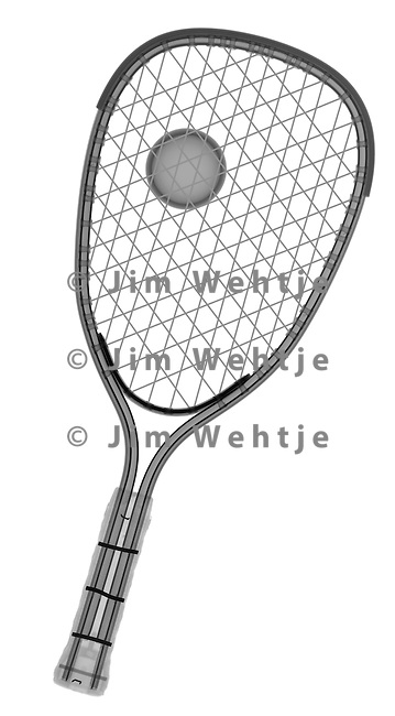 X-ray image of a racquetball racket and ball (black on white) by Jim Wehtje, specialist in x-ray art and design images.