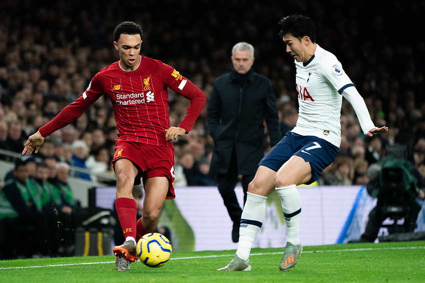 Liverpool's Trent Alexander-Arnold crosses the ball despite the attentions of Tottenham's Heung-Min Son <br /> <br /> Photographer Stephanie Meek/CameraSport<br /> <br /> The Premier League - Tottenham Hotspur v Liverpool - Saturday 11th January 2020 - Tottenham Hotspur Stadium - London<br /> <br /> World Copyright © 2020 CameraSport. All rights reserved. 43 Linden Ave. Countesthorpe. Leicester. England. LE8 5PG - Tel: +44 (0) 116 277 4147 - admin@camerasport.com - www.camerasport.com