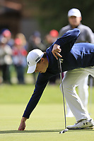 Matthew Fitzpatrick (ENG) sinks his birdie putt on the 16th green during Sunday's Final Round of the 2017 Omega European Masters held at Golf Club Crans-Sur-Sierre, Crans Montana, Switzerland. 10th September 2017.<br /> Picture: Eoin Clarke | Golffile<br /> <br /> <br /> All photos usage must carry mandatory copyright credit (&copy; Golffile | Eoin Clarke)