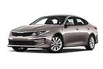 Stock pictures of low aggressive front three quarter view of 2018 KIA Optima LX 4 Door Sedan Low Aggressive