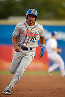 St. Lucie Mets center fielder Enmanuel Zabala (10) running the bases during a game against the Dunedin Blue Jays on April 20, 2017 at Florida Auto Exchange Stadium in Dunedin, Florida.  Dunedin defeated St. Lucie 6-4.  (Mike Janes/Four Seam Images)