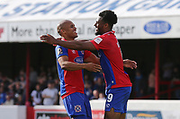 Chike Kandi of Dagenham and Redbridge scores the first goal for his team and celebrates with Elliott Romain during Dagenham & Redbridge vs Chesterfield, Vanarama National League Football at the Chigwell Construction Stadium on 15th September 2018