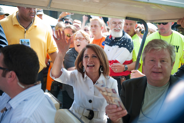 UNITED STATES - AUGUST 13:  Republican presidential candidate Michele Bachmann encourages people to vote in the Ames Straw Poll at Iowa State University in Ames, Iowa.  (Photo By Tom Williams/Roll Call)