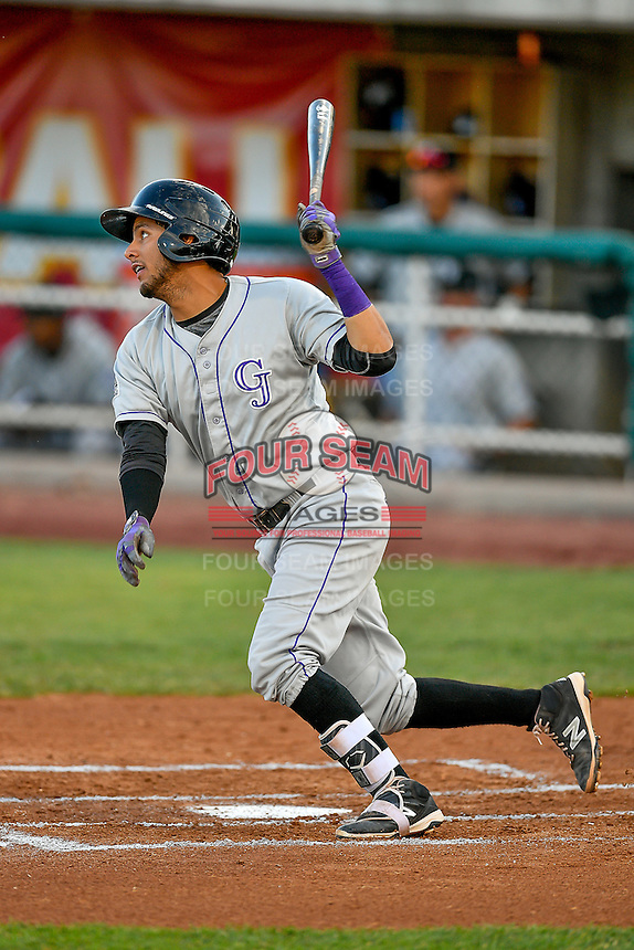 Joel Diaz (5) of the Grand Junction Rockies at bat against the Orem Owlz in Pioneer League action at Home of the Owlz on July 6, 2016 in Orem, Utah. The Rockies defeated the Owlz 5-4 in Game 2 of the double header.  (Stephen Smith/Four Seam Images)