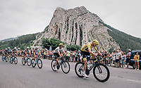 Chris Froome (GBR/SKY) riding through the town of Sisteron with it's distinctive monumental rock formations<br /> <br /> 104th Tour de France 2017<br /> Stage 19 - Embrun &rsaquo; Salon-de-Provence (220km)