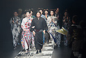 Designer Jotaro Saito appears with models on the runway during the Jotaro Saito kimono 2016 Autumn Winter fashion show at the Mercedes-Benz Fashion Week Tokyo 2016 A/W on  March 16, 2016, Tokyo, Japan. (Photo by Michael Steinebach/AFLO)
