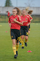 20200820 - TUBIZE , Belgium : Belgium's Alix Bosteels pictured during the warm up before a friendly match between Belgian national women's youth soccer team called the Red Flames U17 and Union Saint-Ghislain Tetre , on the 20th of August 2020 in Tubize.  PHOTO: Sportpix.be | SEVIL OKTEM