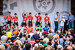 Team Sunweb introduced on stage at the Team Presentation before Stage 1 of the Deutschland Tour 2019, running 167km from Hannover to Halberstadt, Germany. 29th August 2019.<br /> Picture: ASO/Henning Angerer | Cyclefile<br /> All photos usage must carry mandatory copyright credit (© Cyclefile | ASO/Henning Angerer)