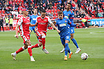 07.10.2018, Stadion an der Wuhlheide, Berlin, GER, 2.FBL, 1.FC UNION BERLIN  VS. 1.FC Heidenheim, <br /> DFL  regulations prohibit any use of photographs as image sequences and/or quasi-video<br /> im Bild Grischa Proemel (1.FC Union Berlin #21), Manuel Schmiedebach (1.FC Union Berlin #24), Nikola Dovedan (Heidenheim #10)<br /> <br /> <br />      <br /> Foto &copy; nordphoto / Engler