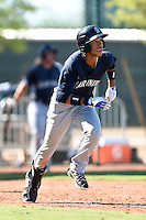 Seattle Mariners outfielder Luis Liberato (23) hits a home run during an Instructional League game against the Cleveland Indians on October 1, 2014 at Goodyear Training Complex in Goodyear, Arizona.  (Mike Janes/Four Seam Images)