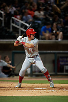 Chattanooga Lookouts Tyler Stephenson (9) at bat during a Southern League game against the Birmingham Barons on May 2, 2019 at Regions Field in Birmingham, Alabama.  Birmingham defeated Chattanooga 4-2.  (Mike Janes/Four Seam Images)