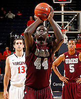 CHARLOTTESVILLE, VA- December 27: Pina Guillaume #44 of the Maryland-Eastern Shore Hawks handles the ball during the game against the Virginia Cavaliers on December 27, 2011 at the John Paul Jones Arena in Charlottesville, Va. Virginia defeated Maryland Eastern Shore 69-42.  (Photo by Andrew Shurtleff/Getty Images) *** Local Caption *** Pina Guillaume