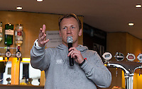 London Scottish Head Coach Peter Richards talks in the hospitality lounge during the Greene King IPA Championship match between London Scottish Football Club and Jersey at Richmond Athletic Ground, Richmond, United Kingdom on 7 November 2015. Photo by Andy Rowland.